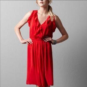 LOFT 100% Silk Ruffle Red Dress